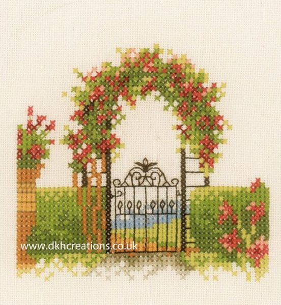 Garden Fence With Flowers Cross Stitch Kit